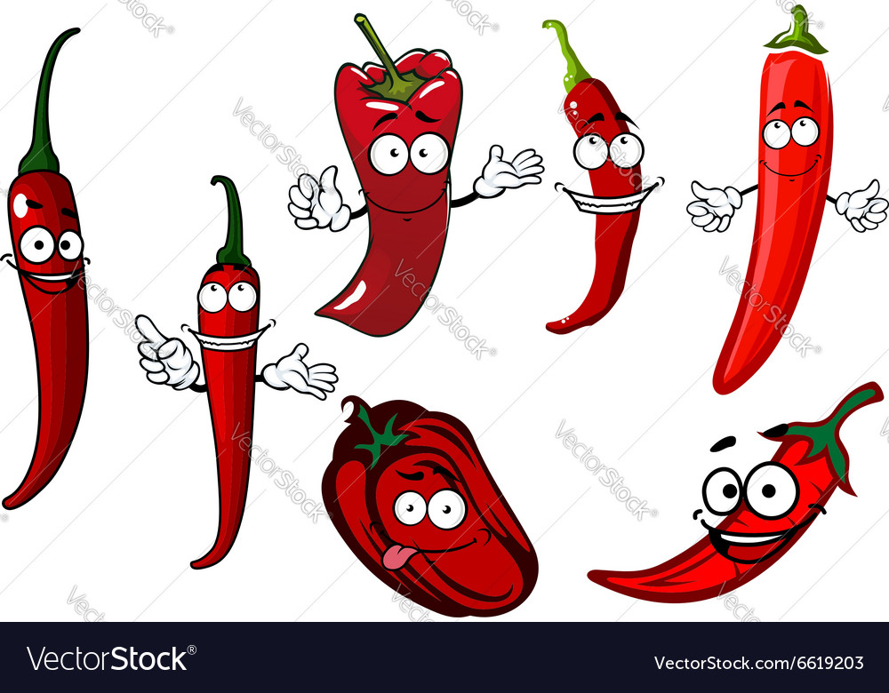 Cartoon red chilli and bell peppers vegetables
