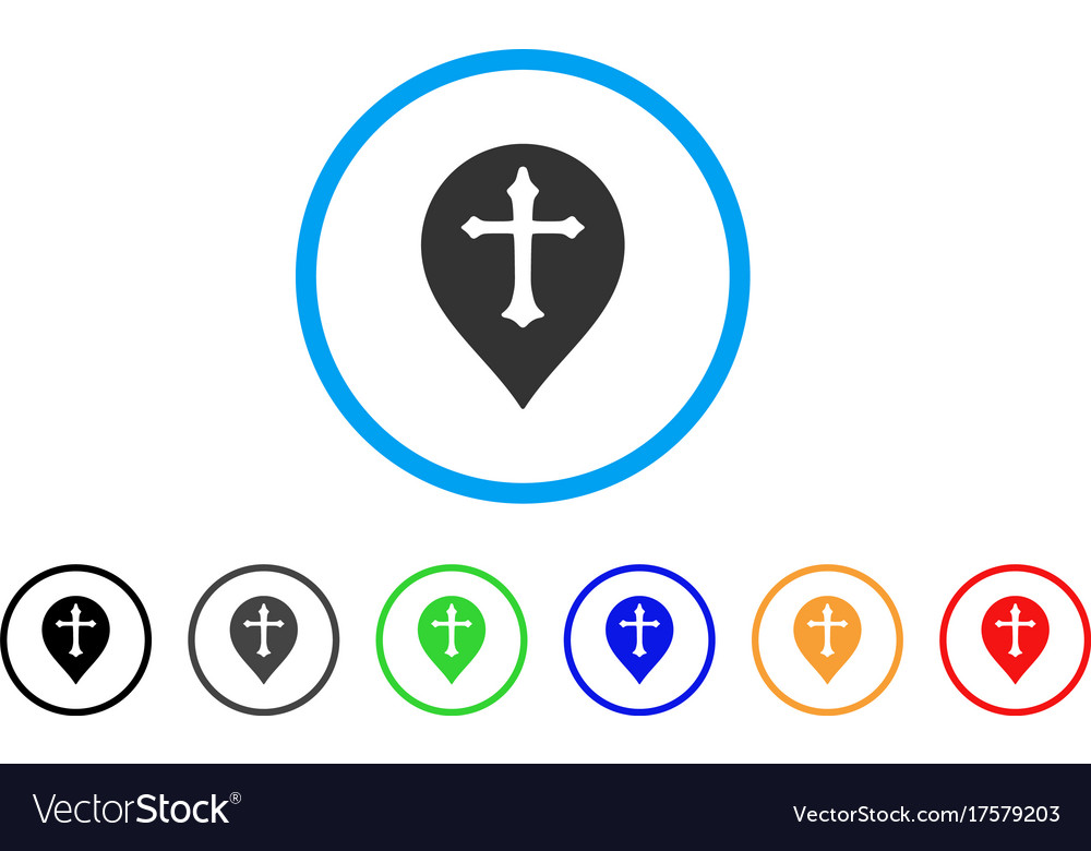 Christian Cross Marker Rounded Icon Royalty Free Vector