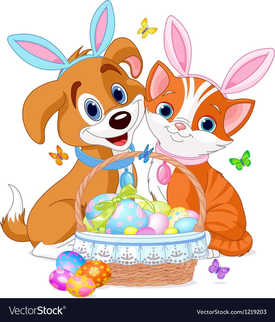 Easter Cat and Dog vector image