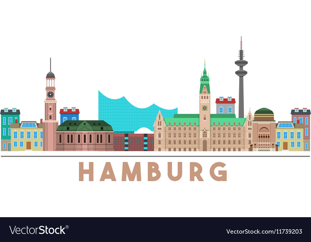 Hamburg Landmarks Skyline