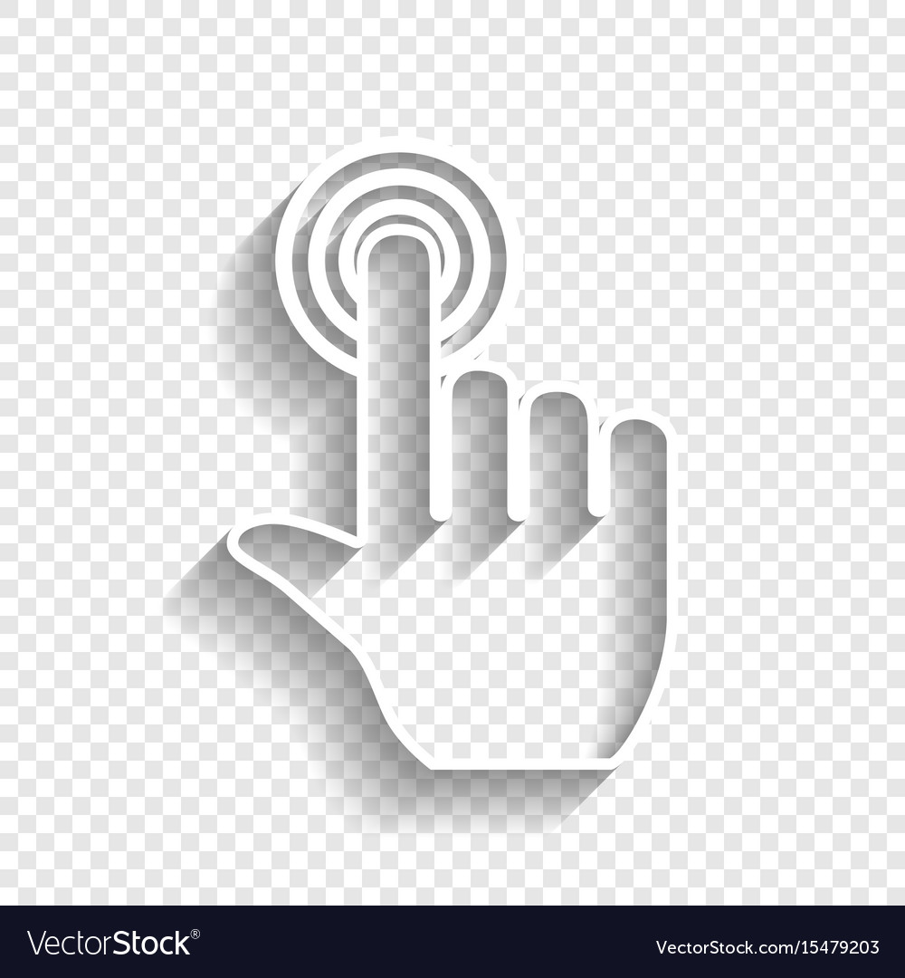 Hand click on button white icon with soft vector image