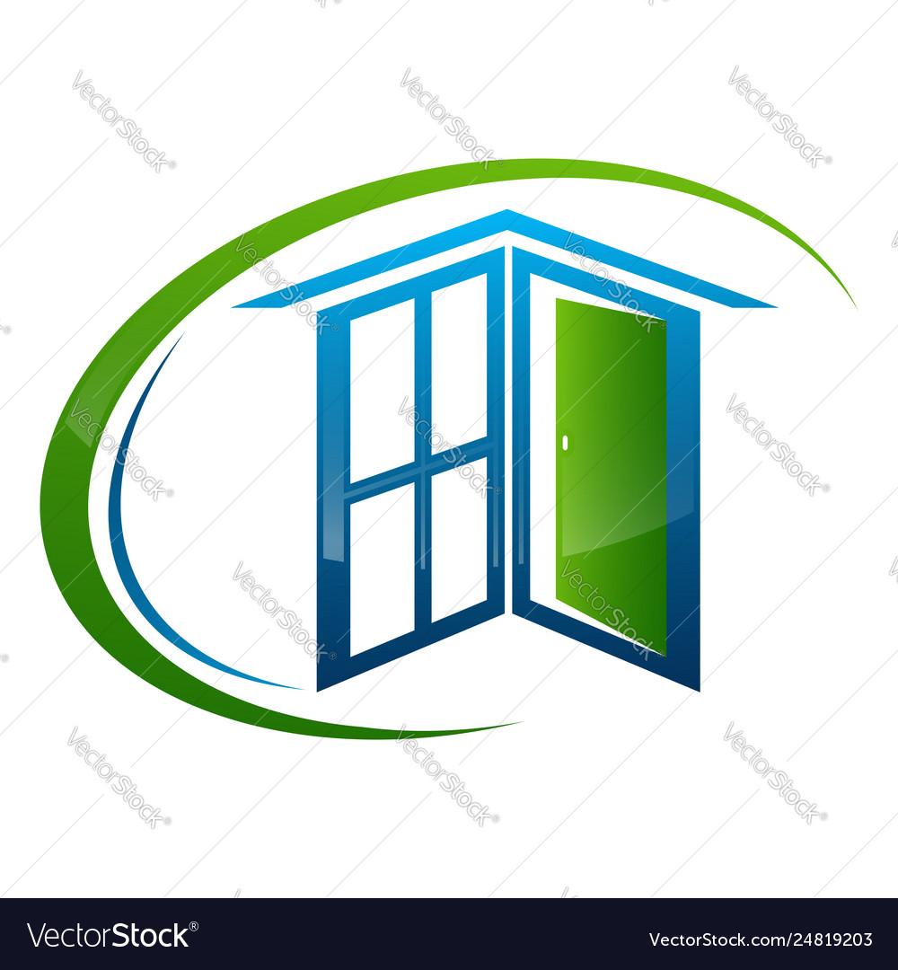 Home window door frame concept design symbol