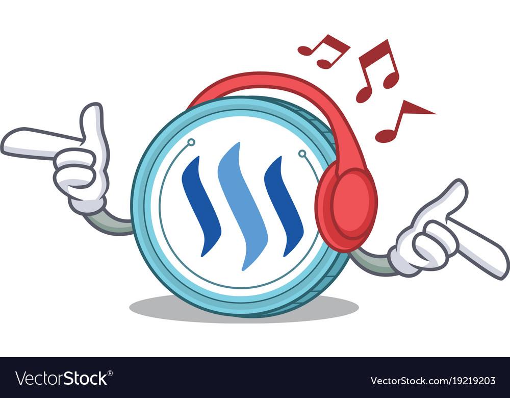 Listening Music Steem Coin Character Cartoon Vector Image