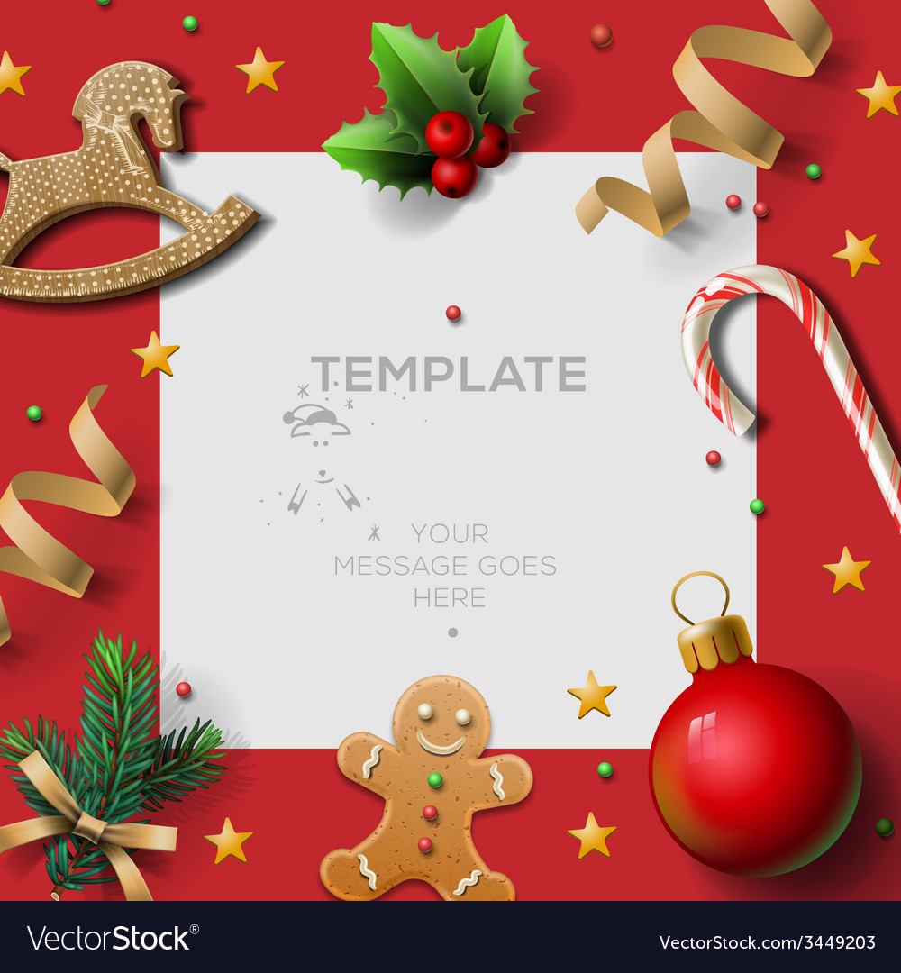 Merry Christmas festive template with gingerbread