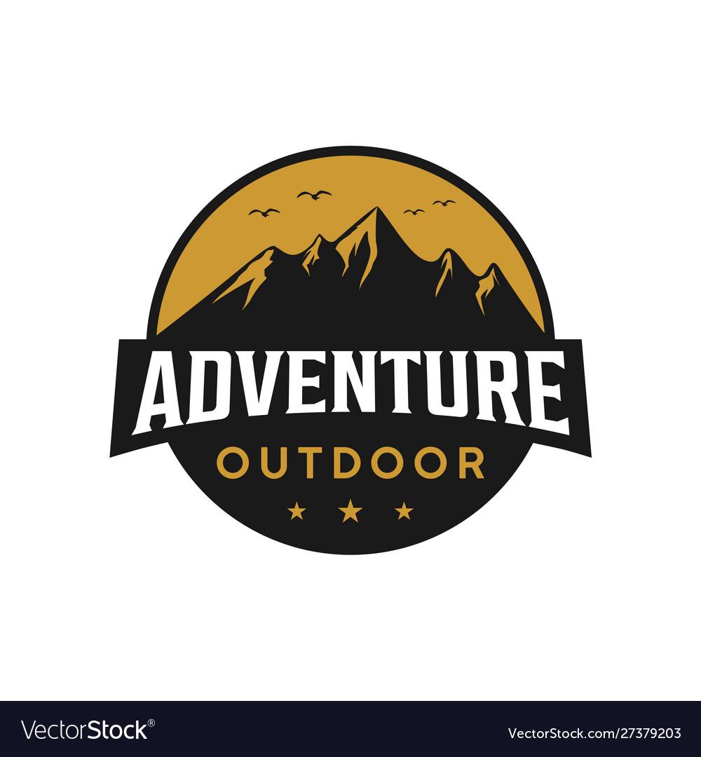 Mountain outdoor adventure badge logo design