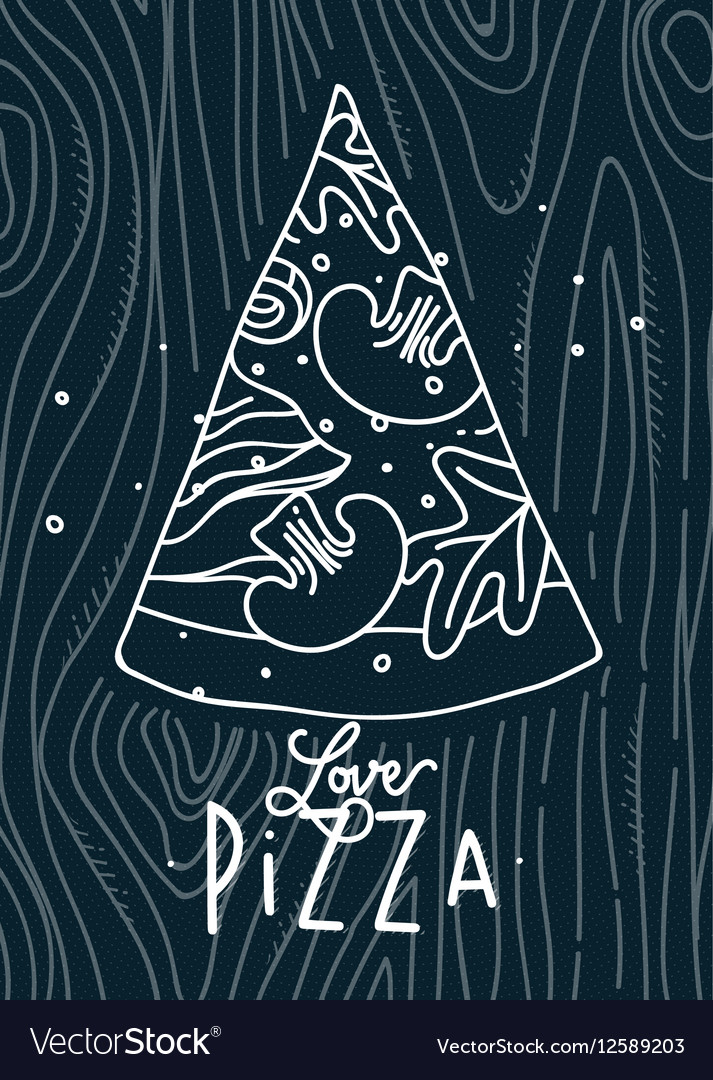 Poster love pizza slice blue