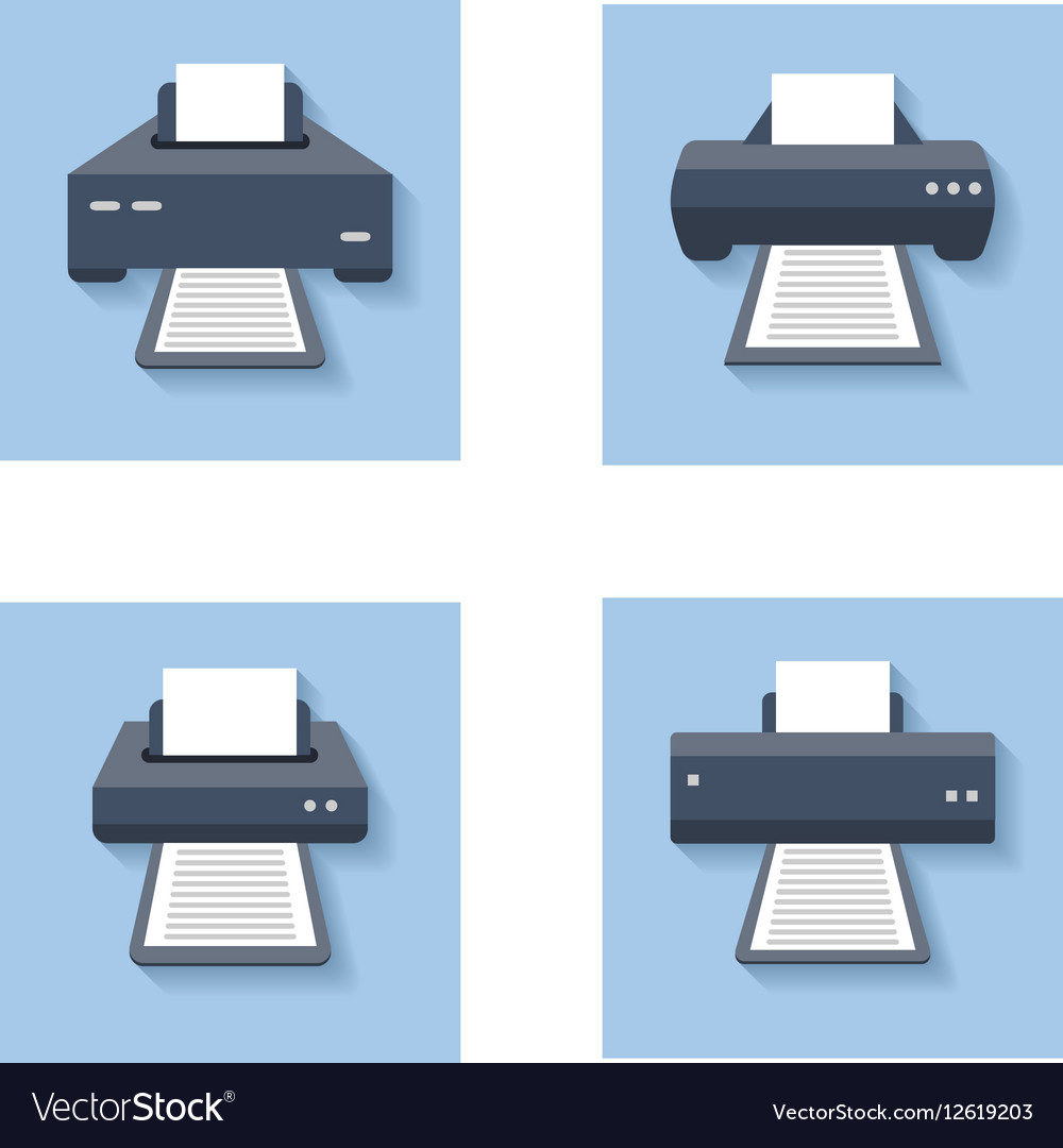Print flat icons Office paper printer scanner and