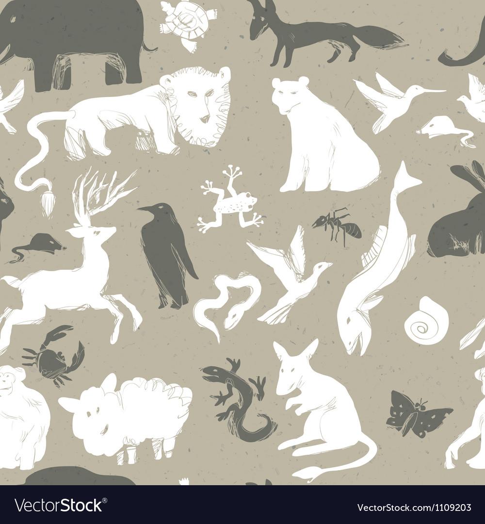Seamless pattern animals vector image