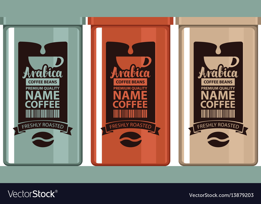 Set labels coffee in iron banks with grain and cup