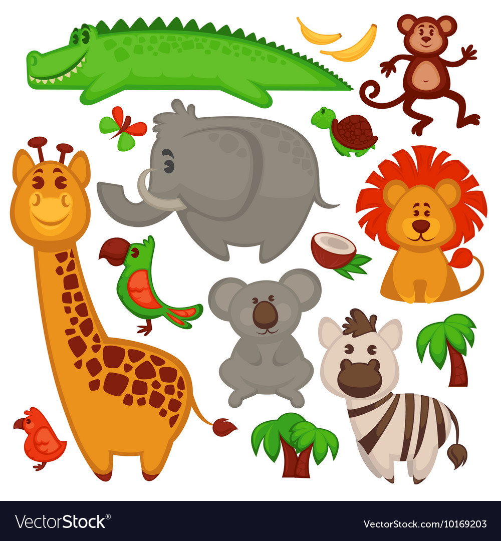 Set Of Different cute African Animals