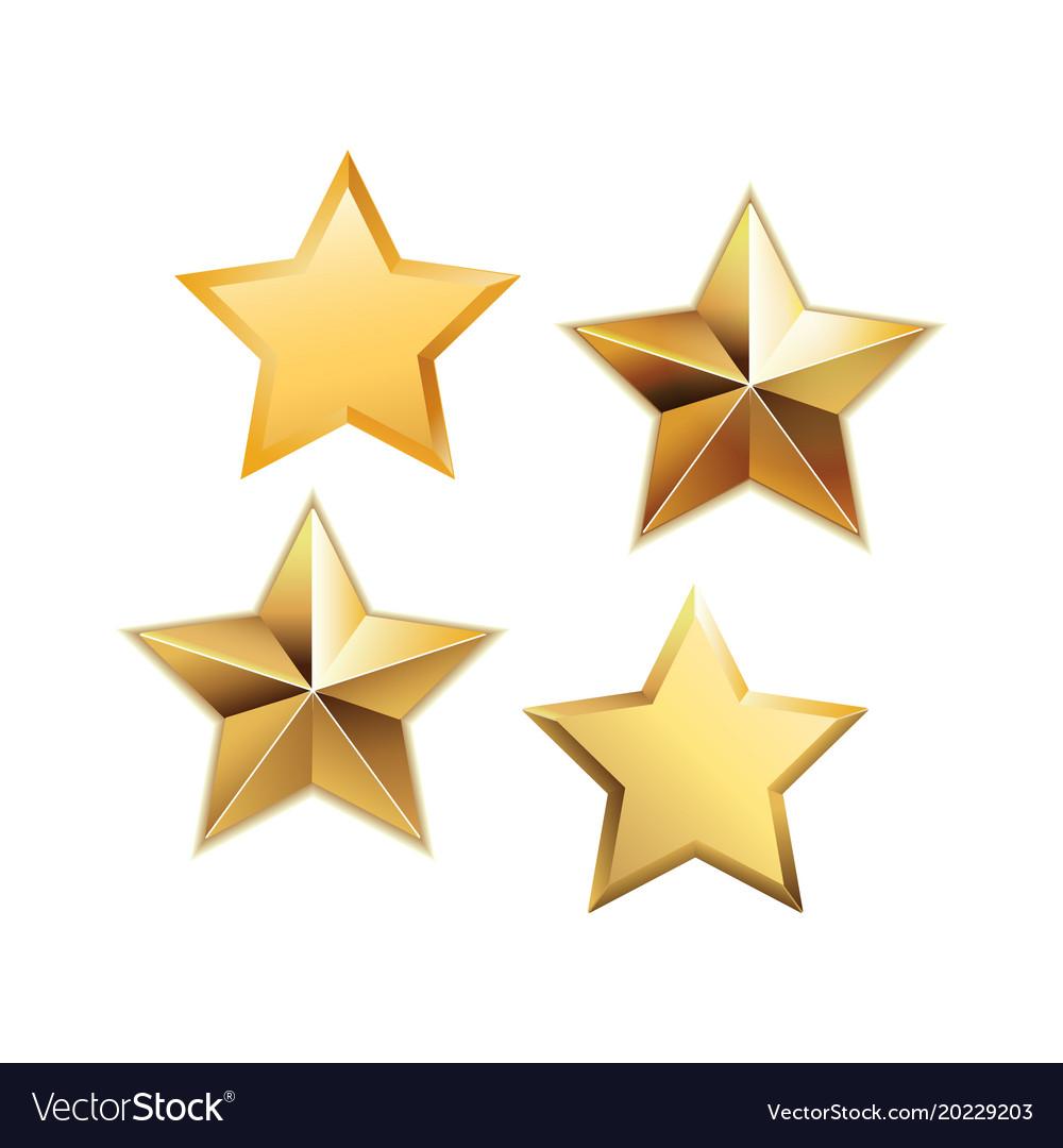 Set of golden stars