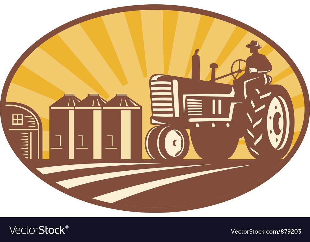 Vintage Tractor Retro vector image