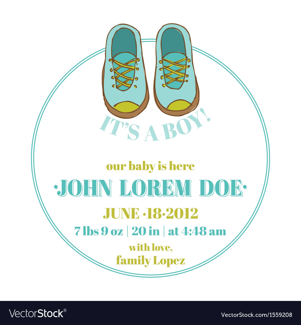 Baby Shower and Arrival Card - Baby Shoes Theme