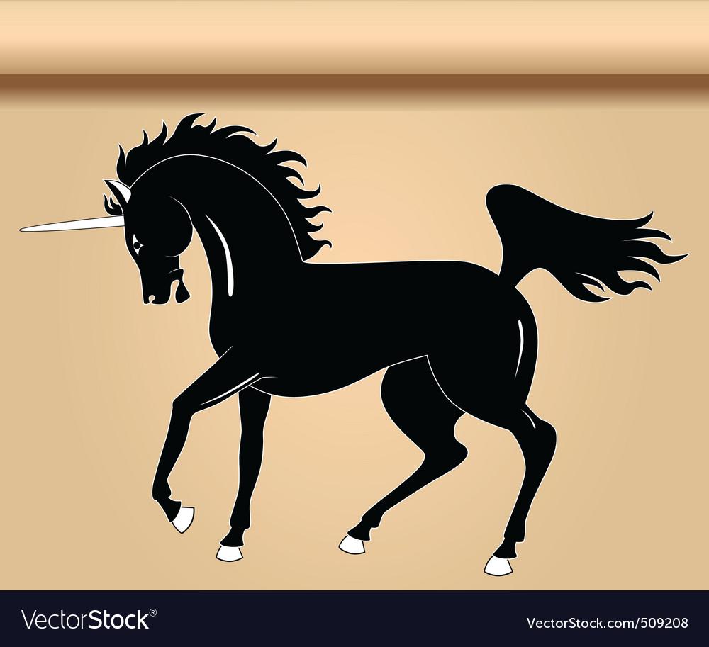 Black heraldic unicorn