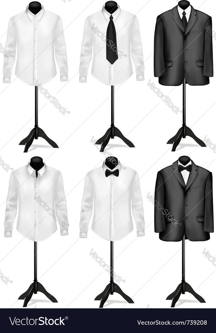 Black suit and white shirt with necktie