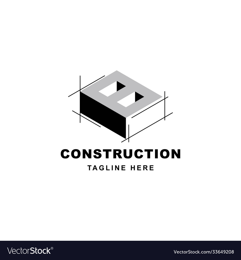 Construction logo design with letter b shape icon