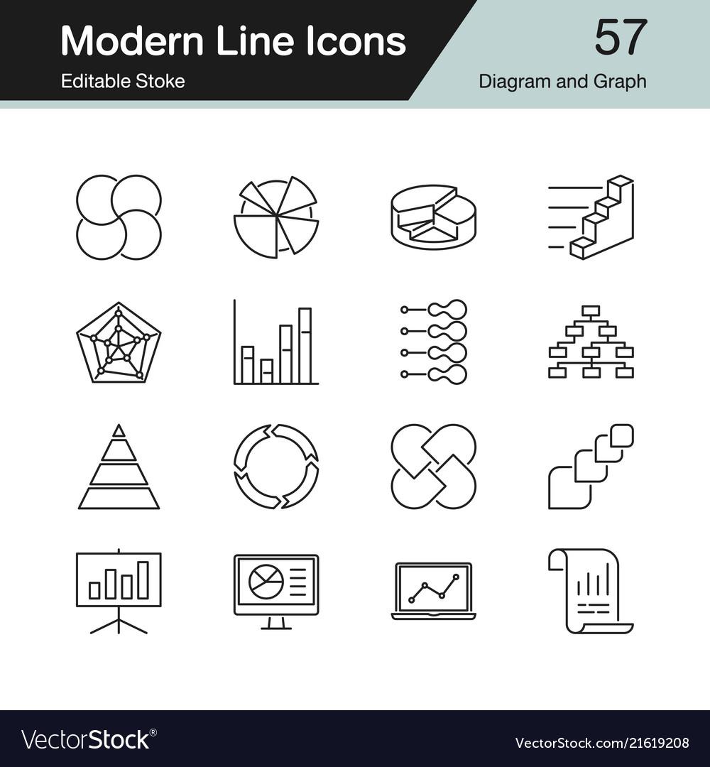 Diagram and graph icons modern line design set 57