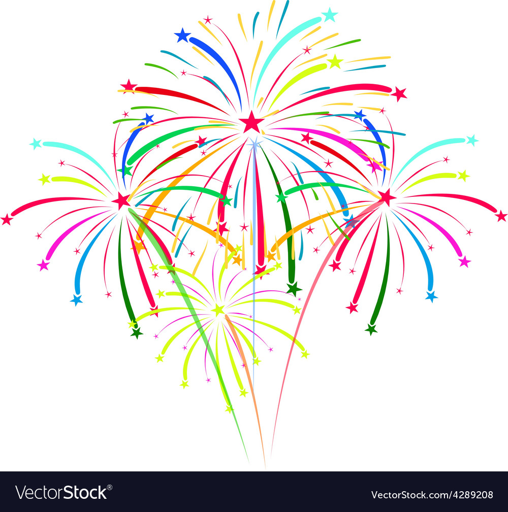 Fireworks on white background Royalty Free Vector Image