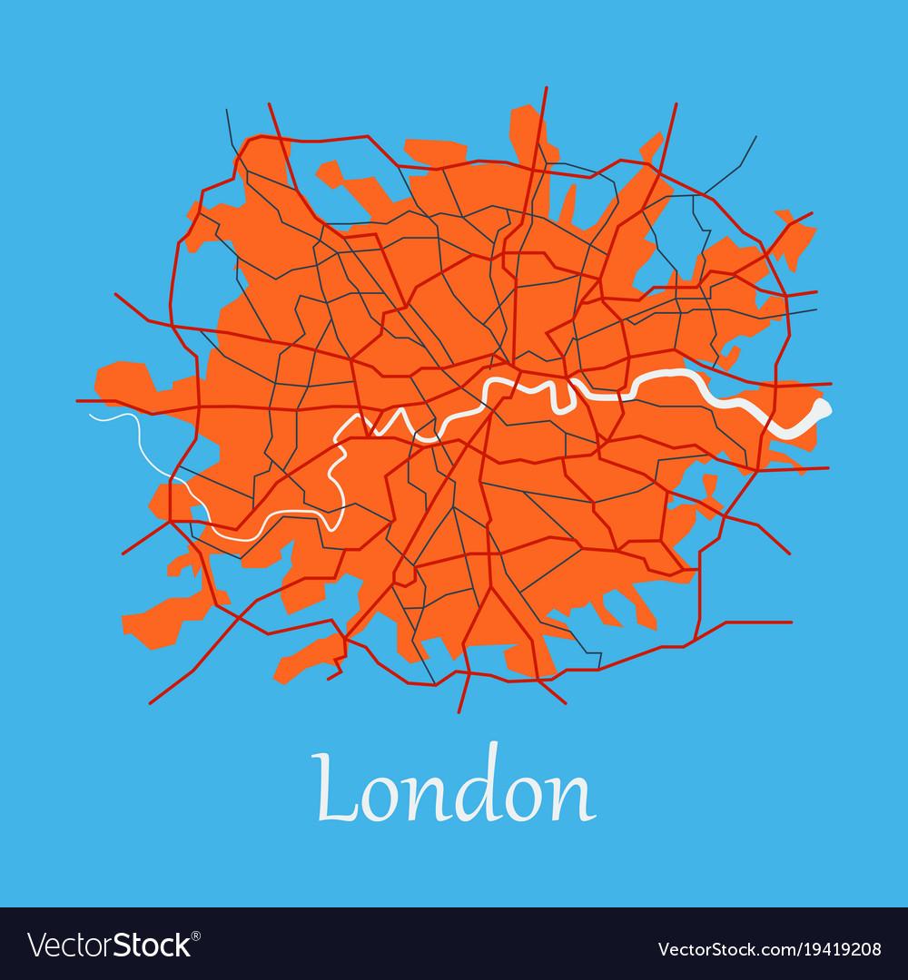 Flat color map of london united kingdom city plan