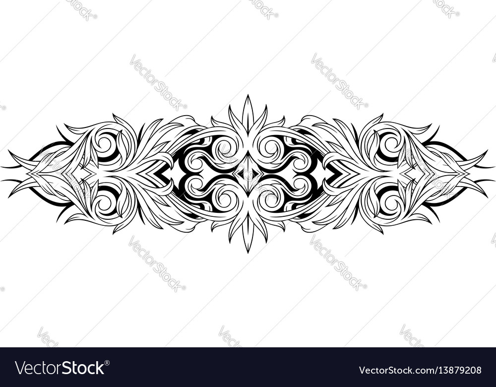 d39cc4115 Floral black and white tattoo ornamental pattern Vector Image