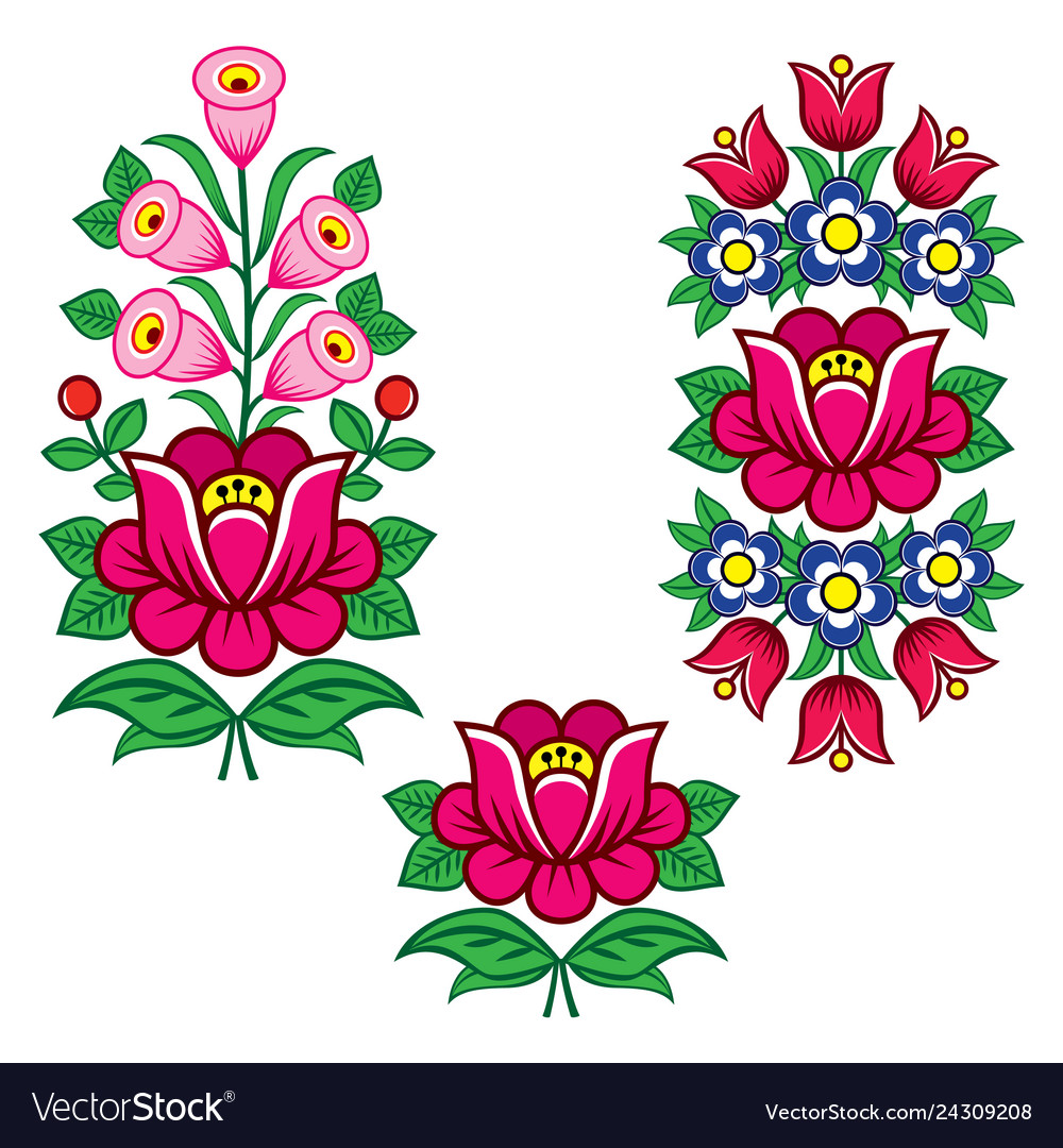 Folk Art Polish Designs With Flowers Royalty Free Vector