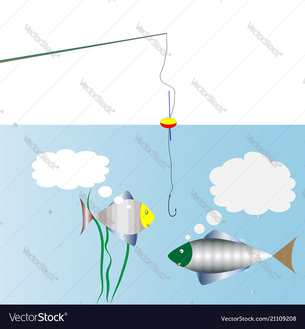 On fishing dialogue of two fish swimming past the vector image