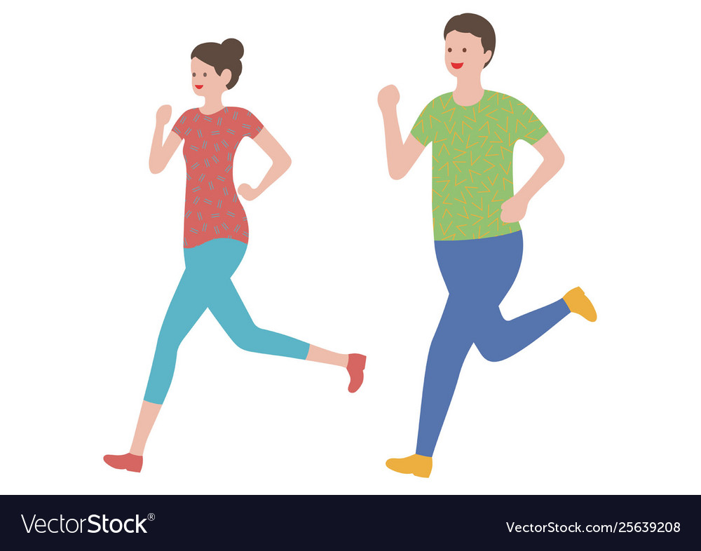 Set a man and a woman running