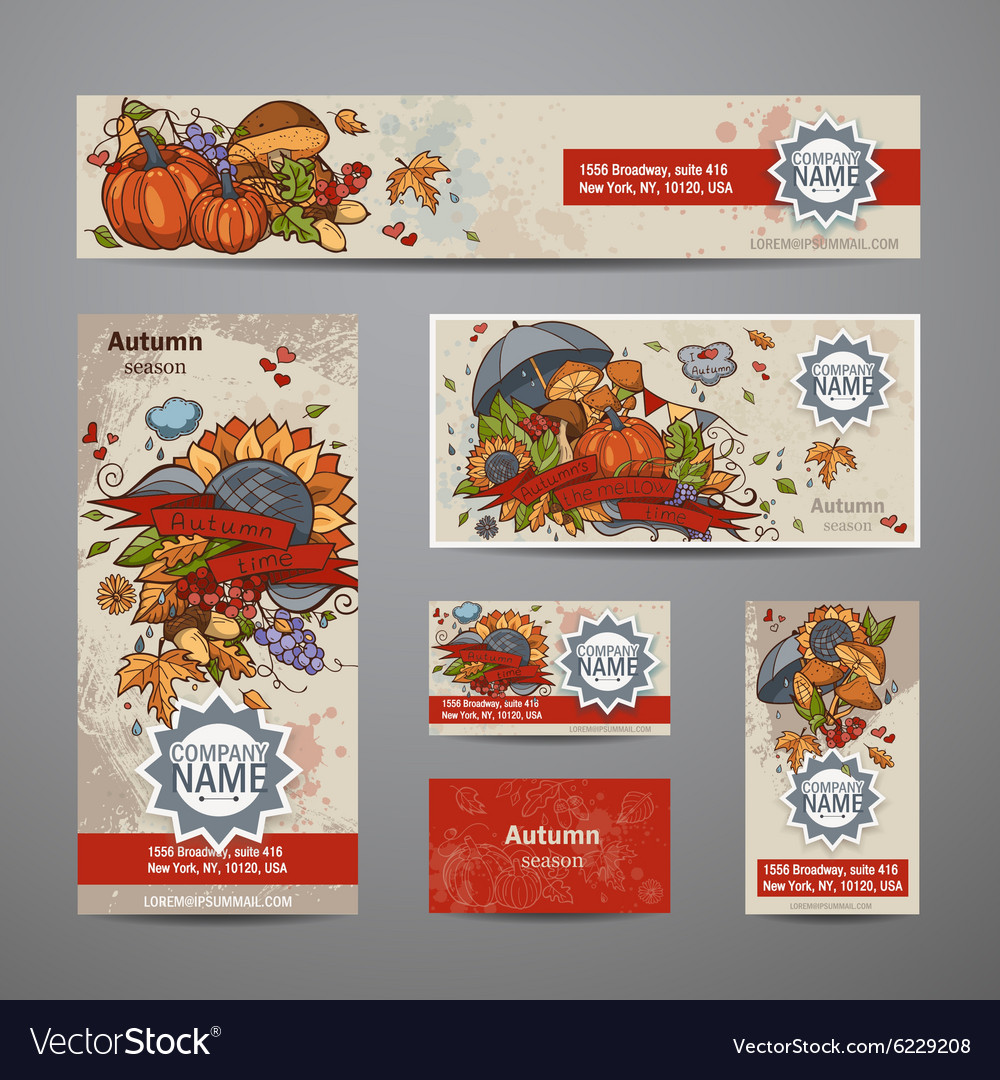 Set of autumn flyers cards banners