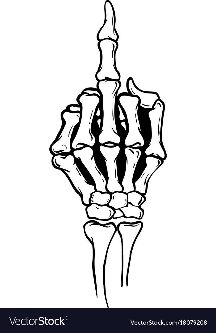 Skeleton shows middle finger