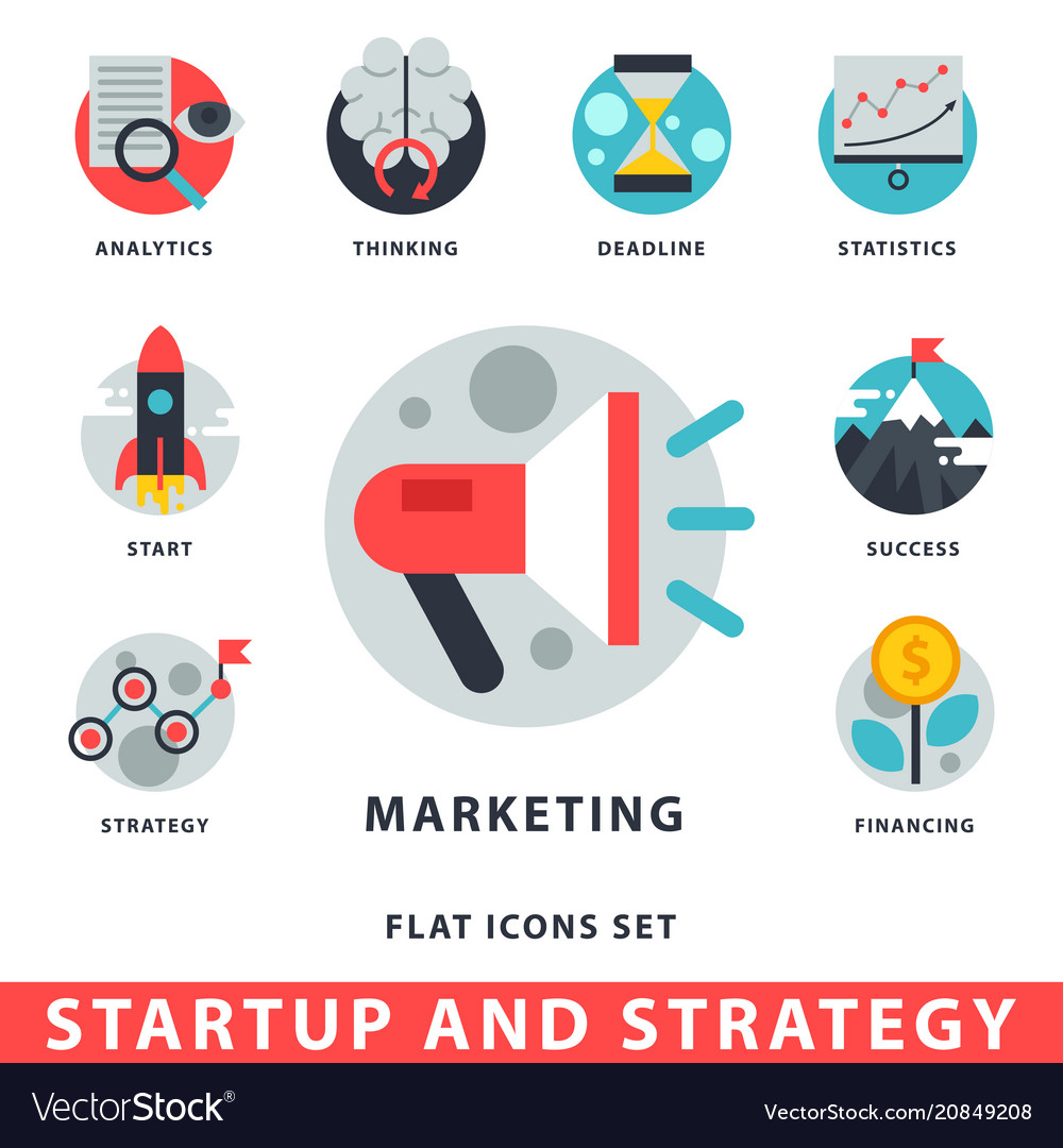 Startup and strategy web busines icon set for