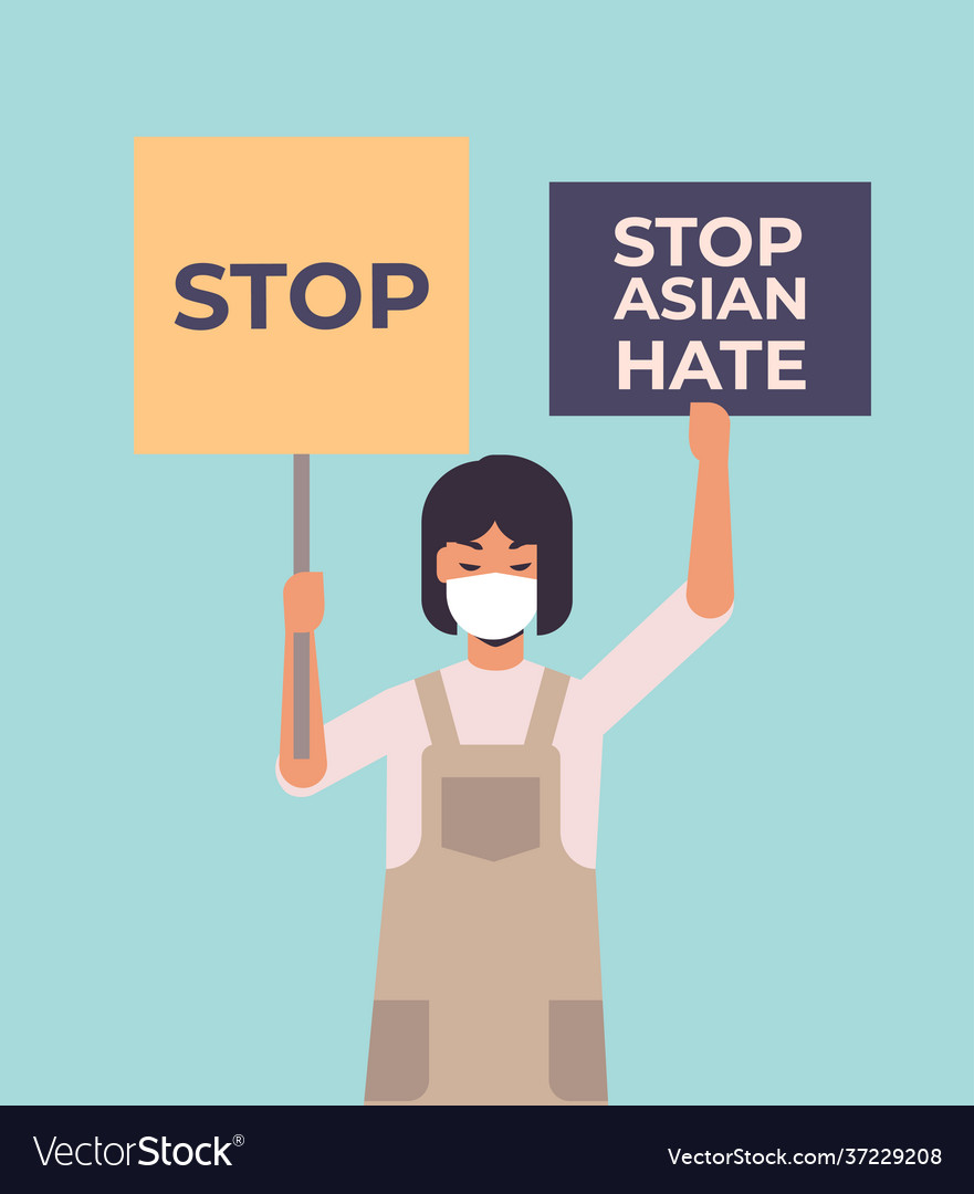 Stop asian hate girl in mask holding banners