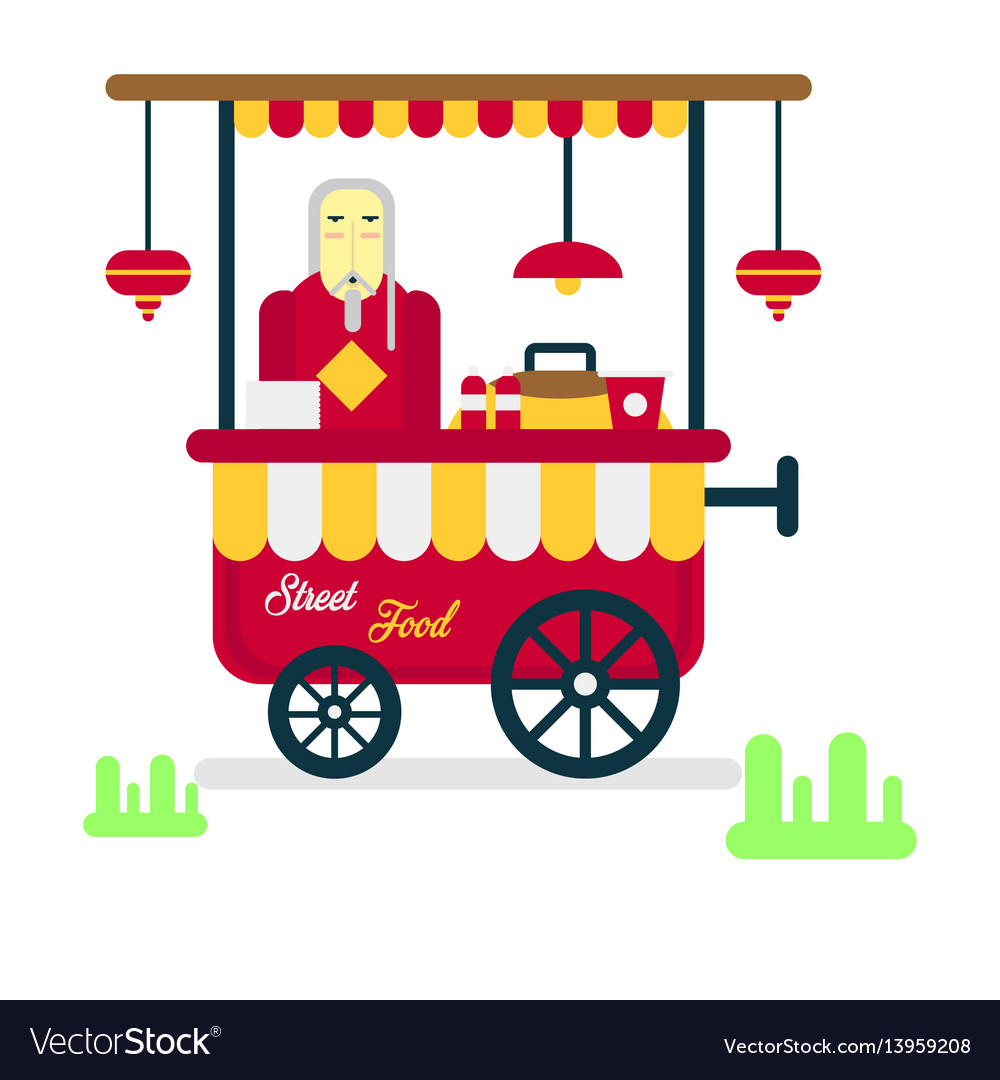 Street food trailer with vendor selling hot