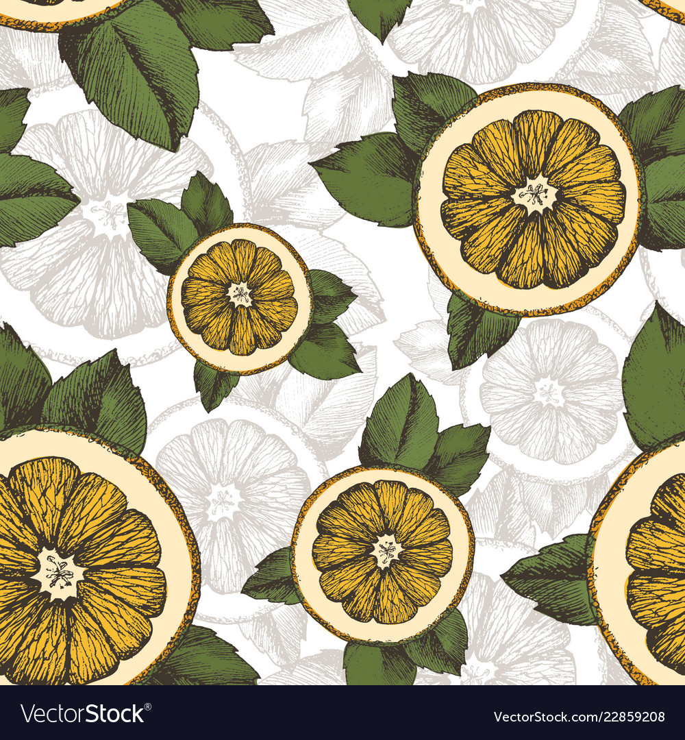 Summer pattern with oranges mint and