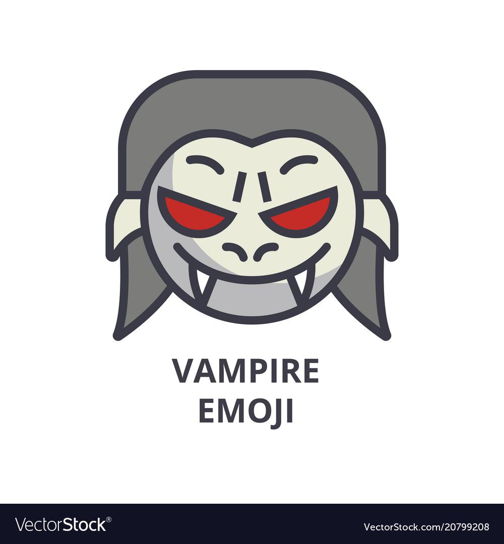 Vampire emoji line icon sign vector image
