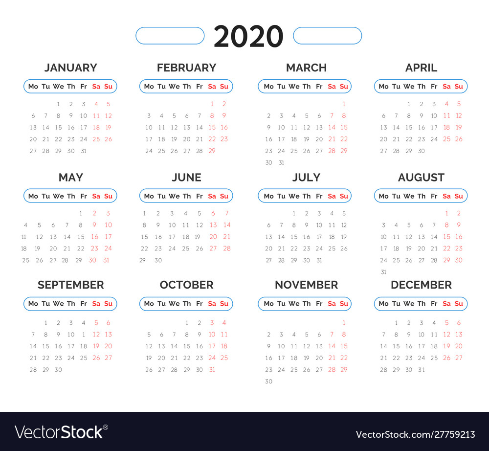 2020 year calendar template in blue and red