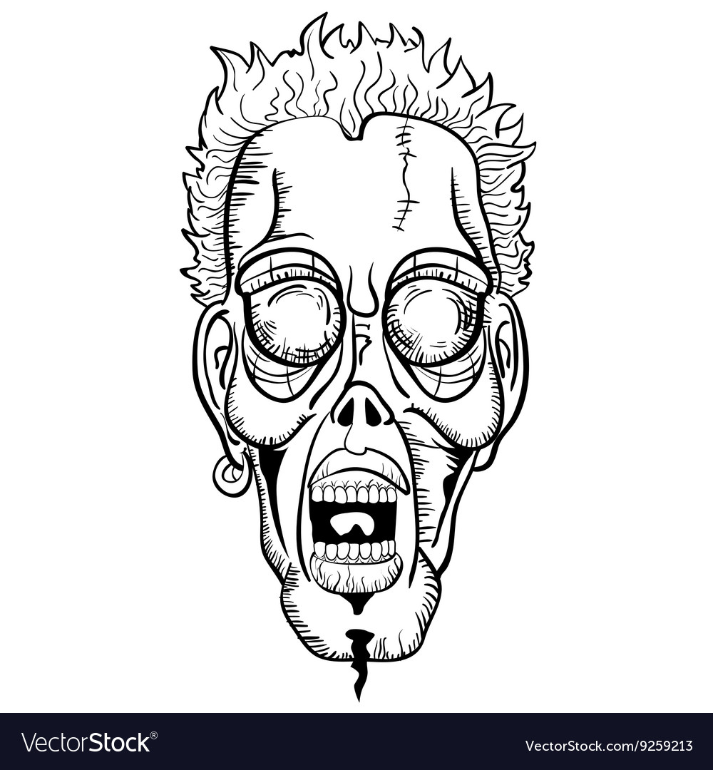 Black and white zombie face vector image