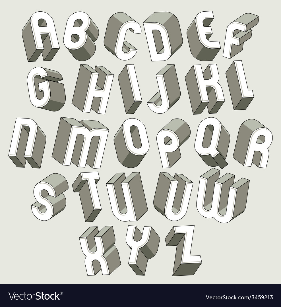 Bold And Heavy 3d Letters Set Dimensional Font Vector Image