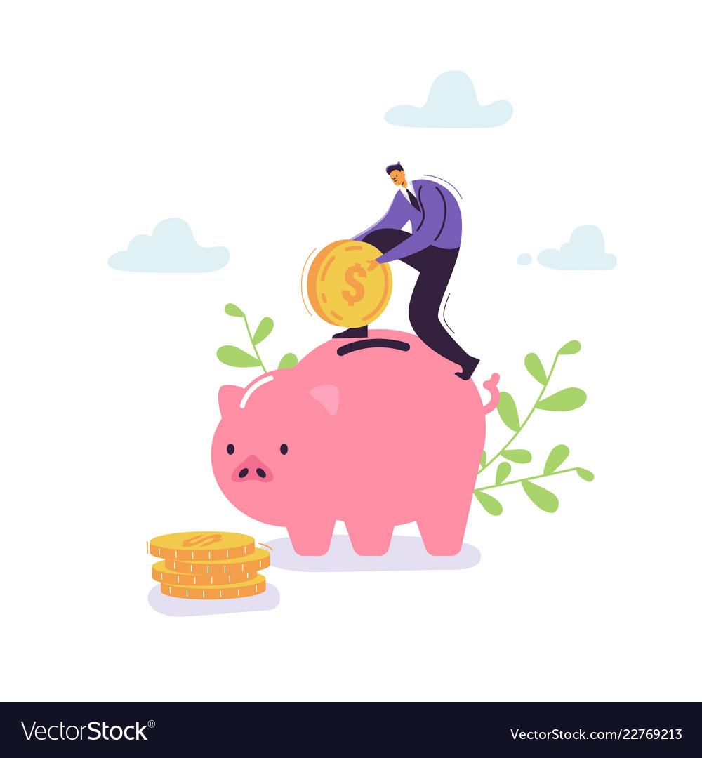 Businessman saving money in piggy bank financial