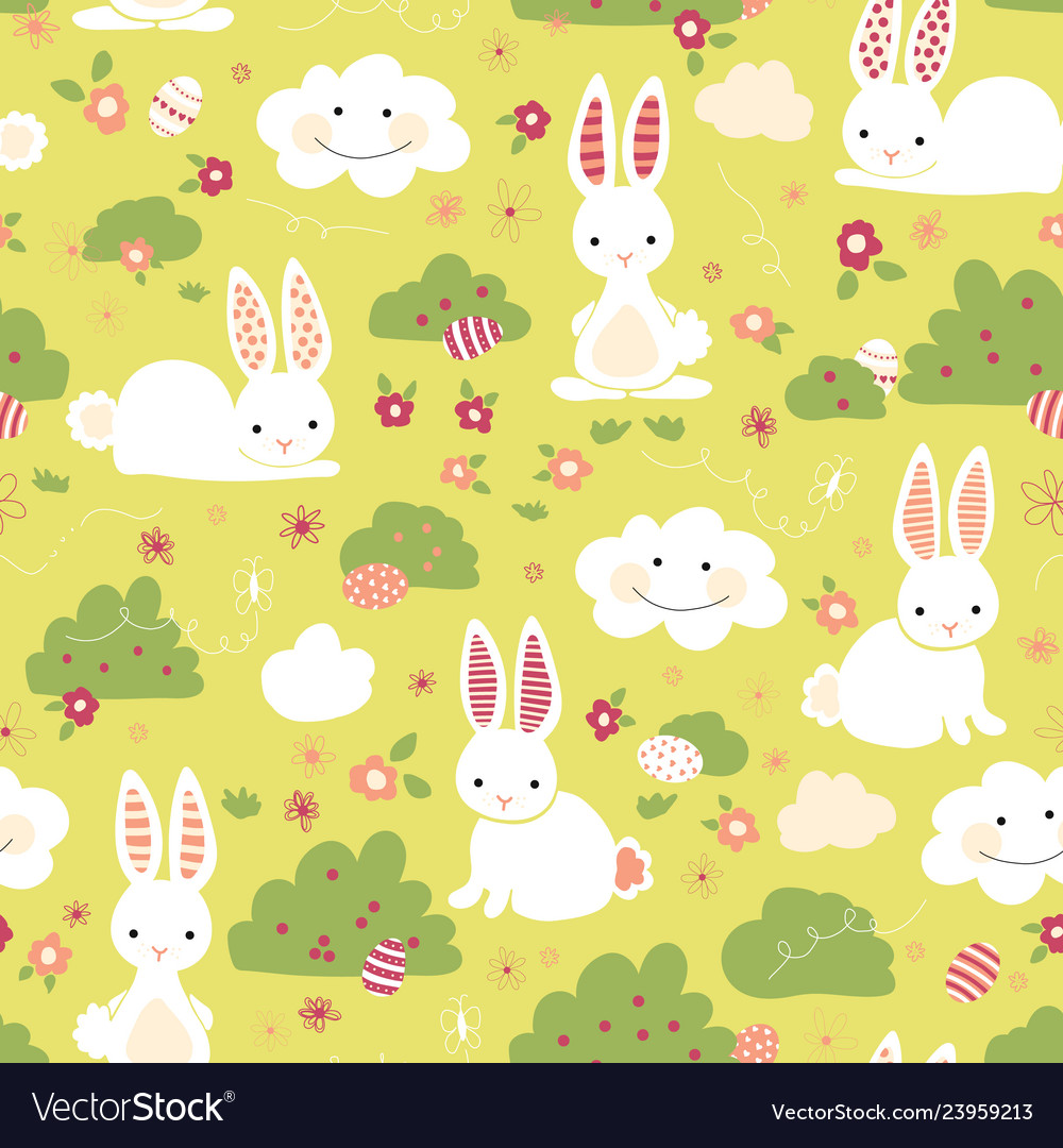 Easter bunny seamless pattern kids green