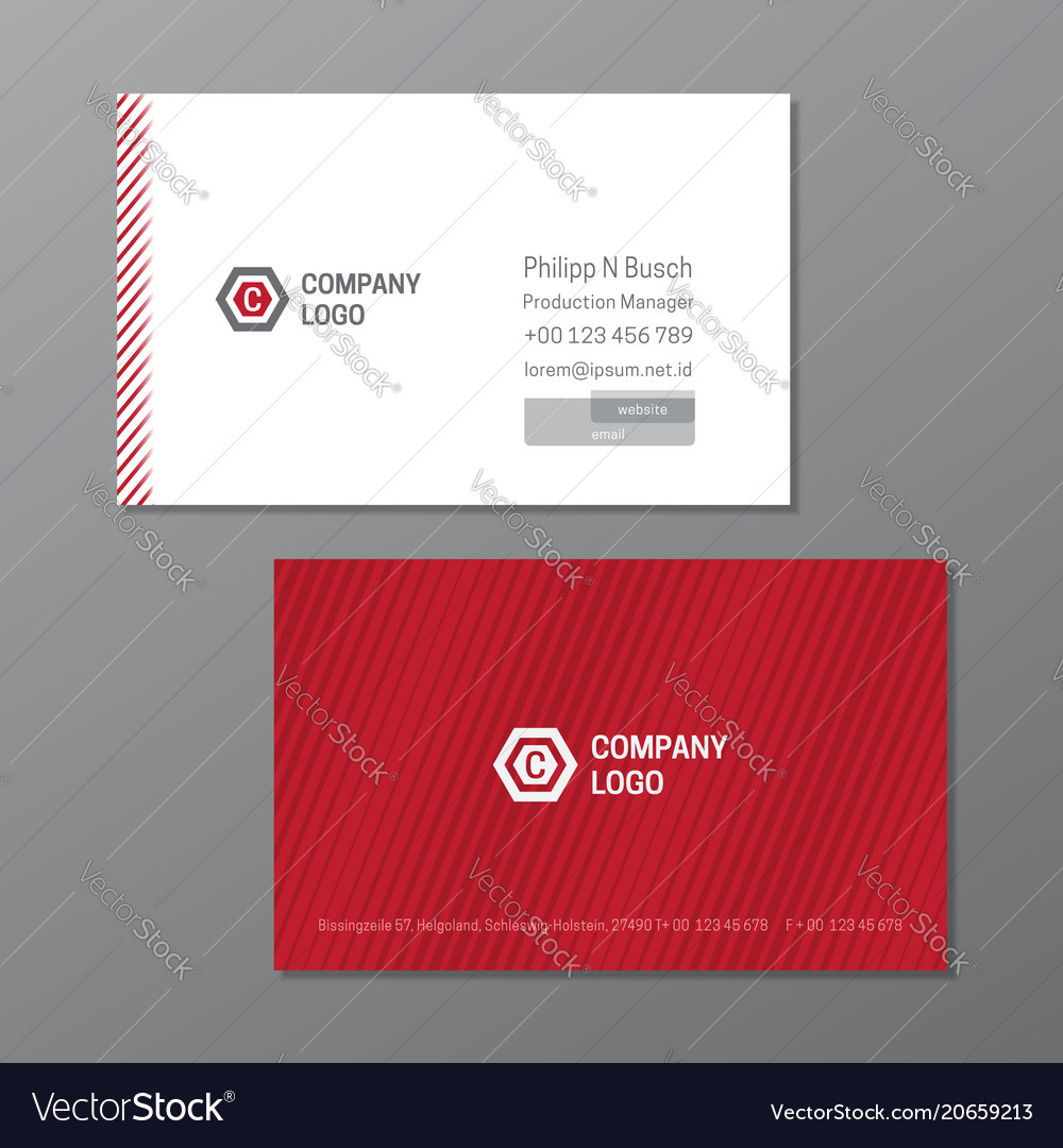 Elegant name card template red and white name vector image wajeb