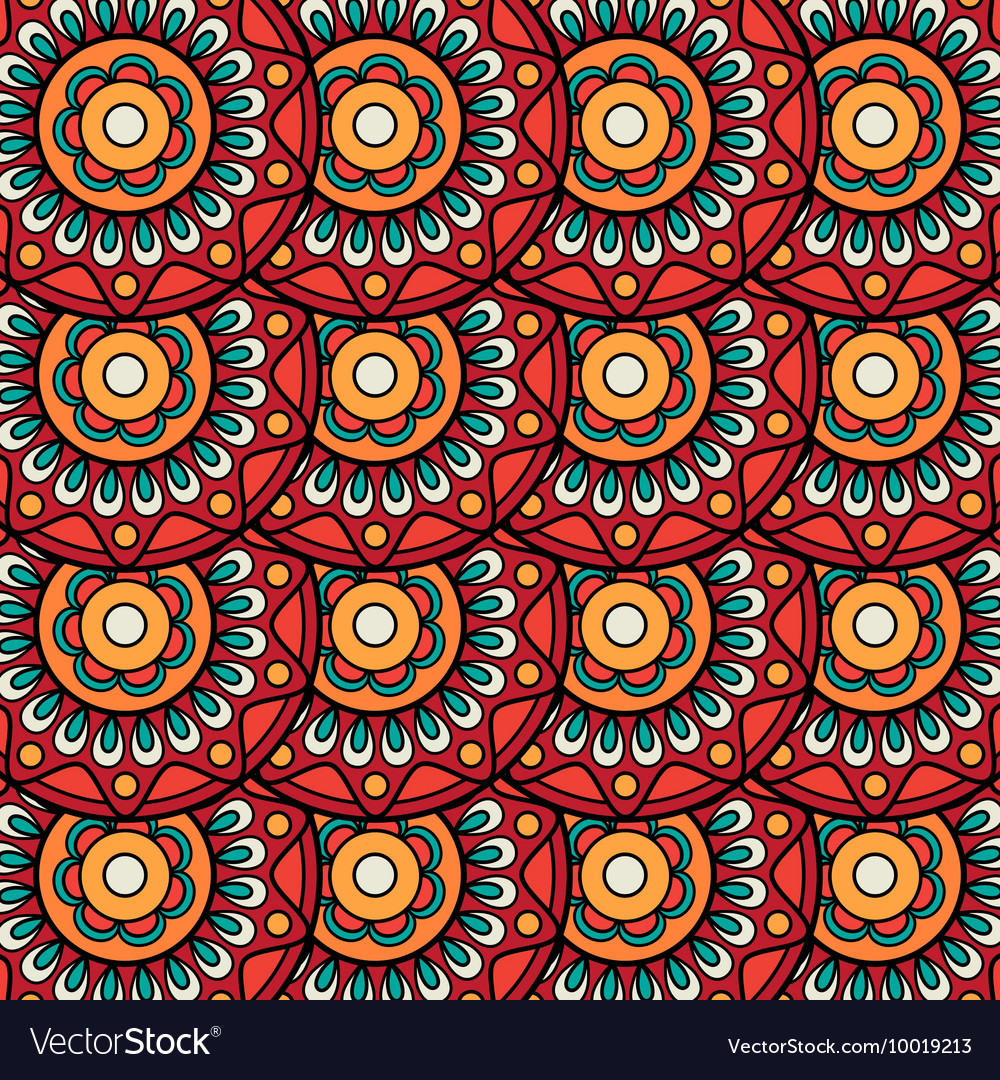 Ethnic boho floral rosettes seamless pattern