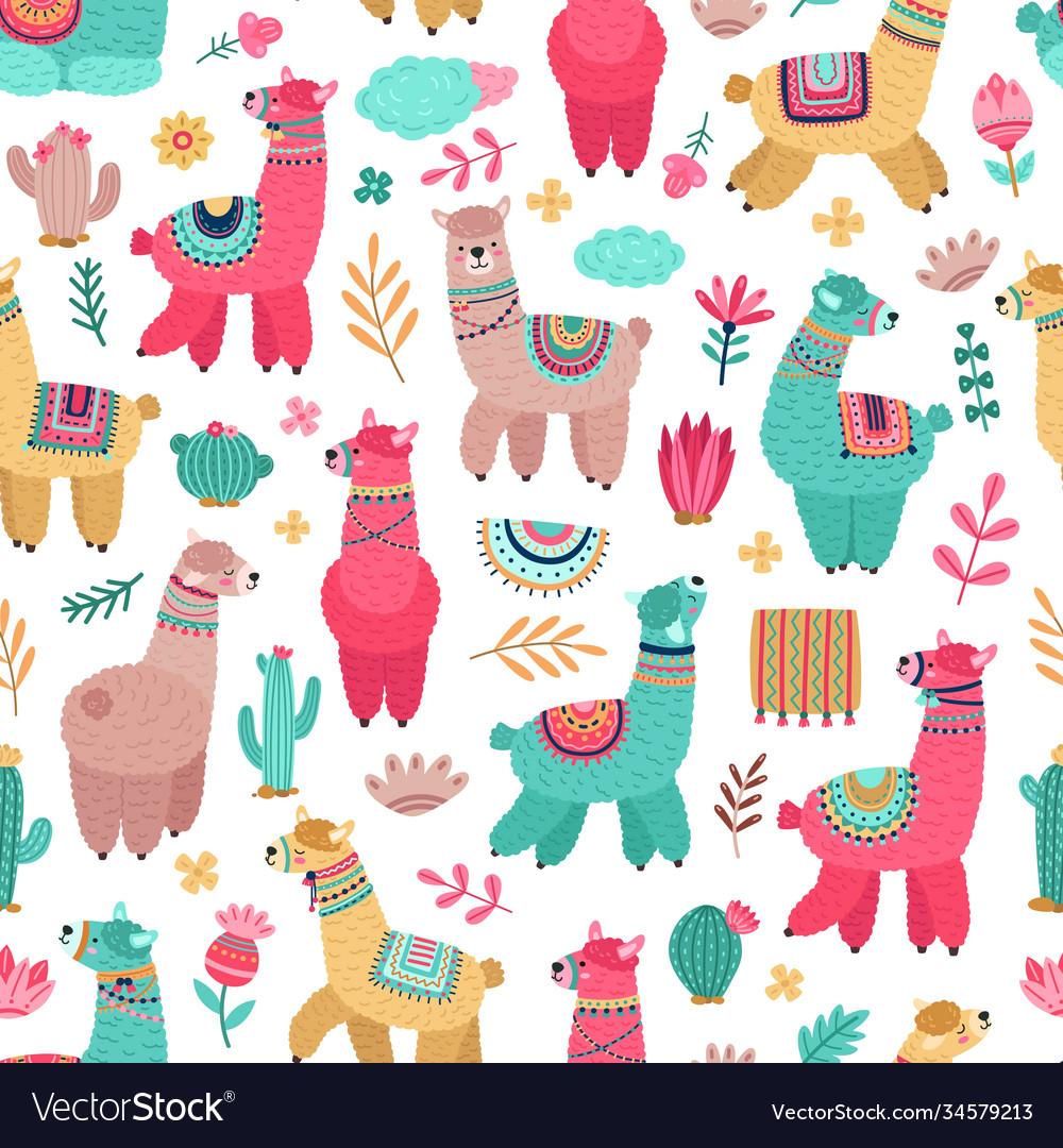 Llama pattern drawing animals cartoon llamas