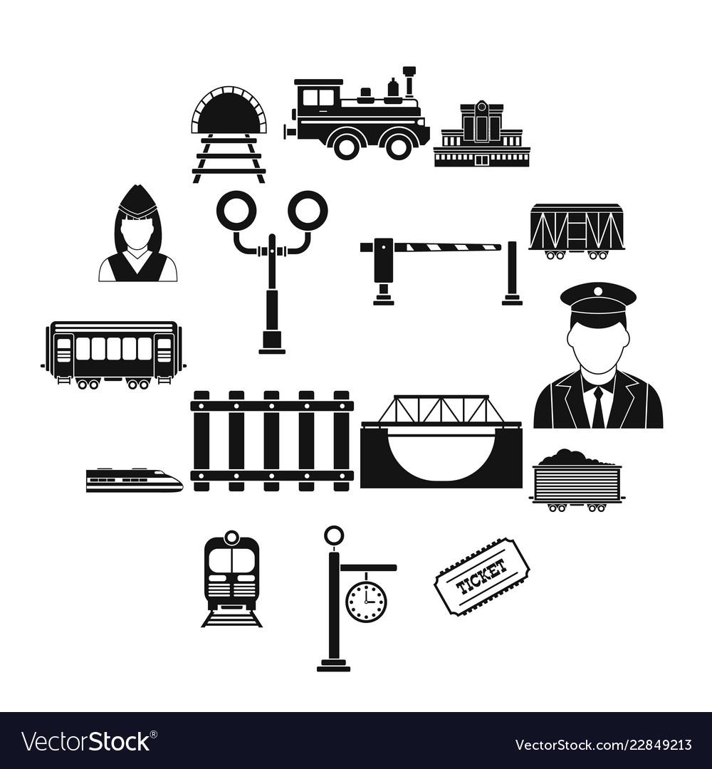 Railroad black simple icons set