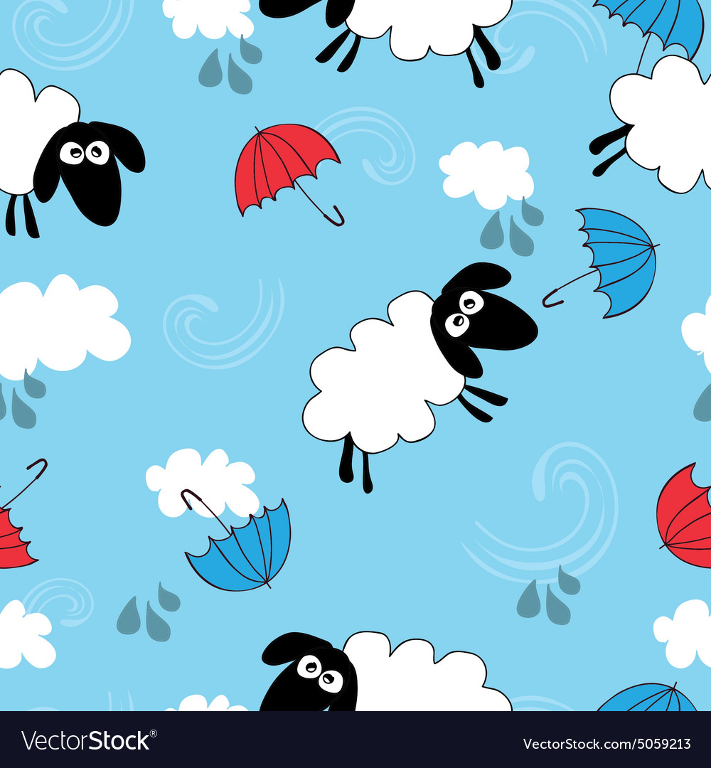 Seamless blue wallpaper with sheep
