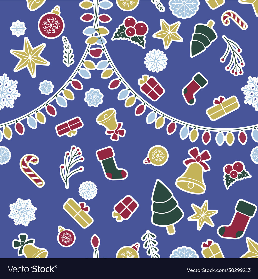 Seamless christmas pattern with blue background