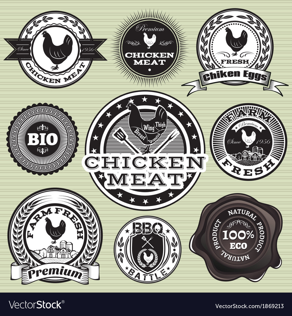 Set of labels with chicken and eggs