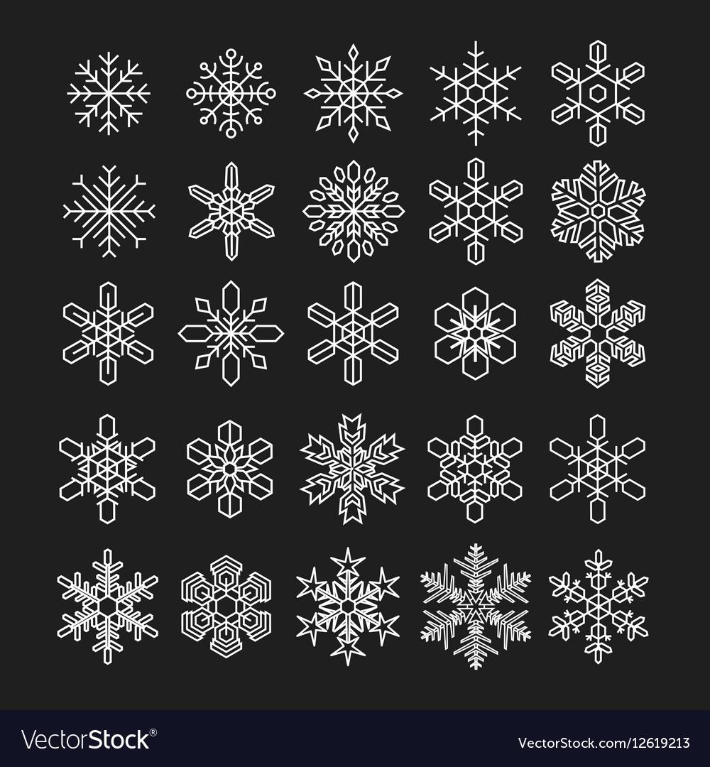 Thin line snowflake icons set