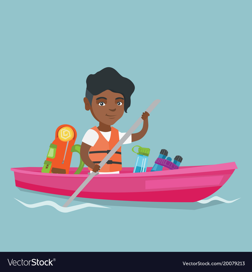 young african american woman riding a kayak vector image