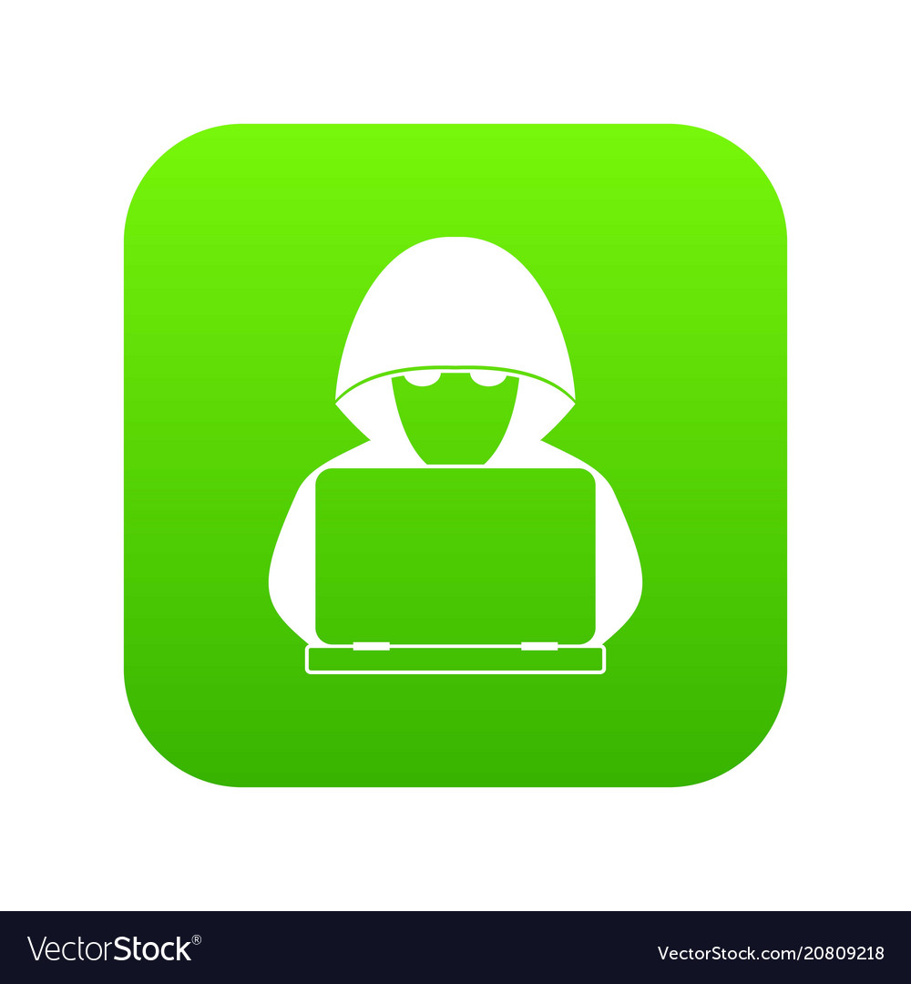 Computer hacker with laptop icon digital green vector image