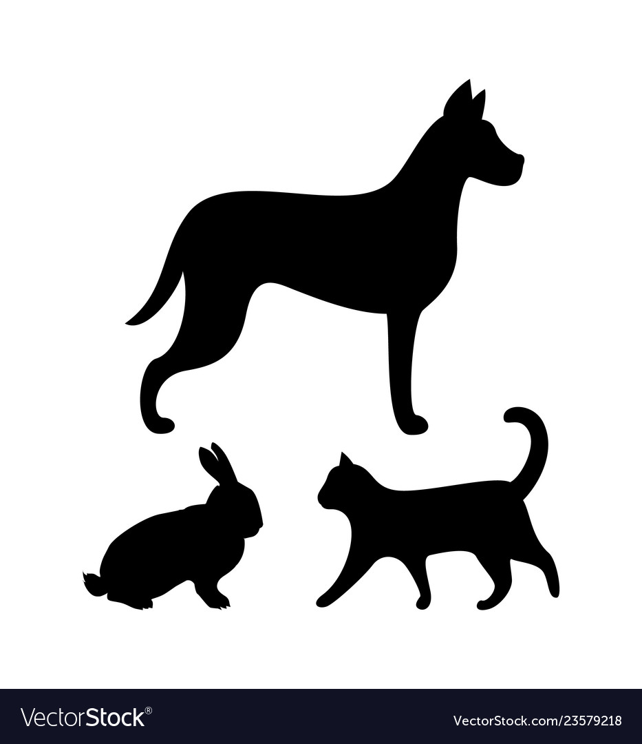 Dog puppy cat and bunny silhouettes icons set